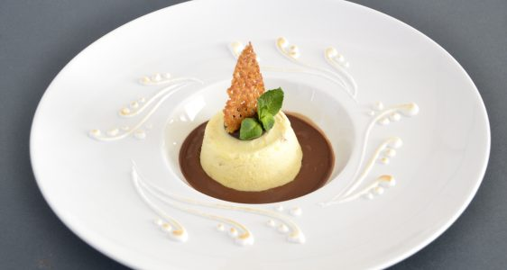 """Torroncino Semifreddo"" with chocolate sauce"