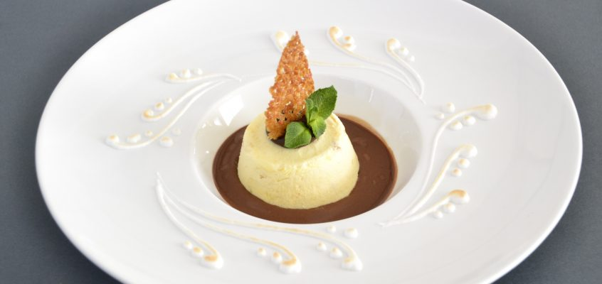 """Torroncino Semifreddo"" with chocolate sauce"